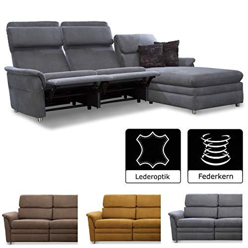 Cavadore Chalsay Sofaecke mit Longchair rechts inkl. Relaxfunktion und verstellbarem Kopfteil / mit Federkern / Eckcouch im modernen Design / Größe: 252...