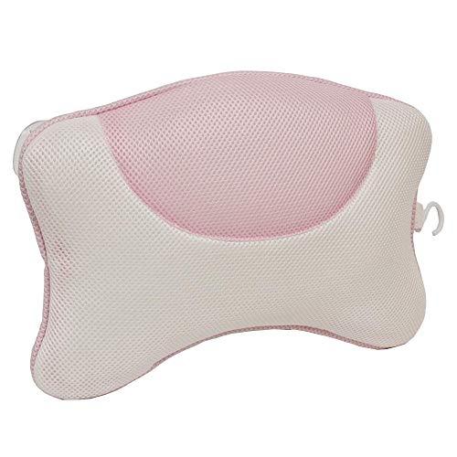 Q4 Almohada de baño con ventosas; Relájese con Esta Almohada para reposacabezas de baño fácil de Instalar o cojín de baño para Almohada de Apoyo para la Cabeza y el Cuello. (Blanco/Rosa)