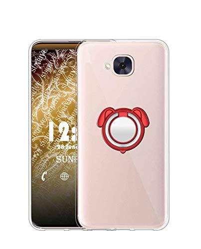 Sunrive Kompatibel mit Asus Zenfone 4 Selfie ZD553KL Hülle Silikon, 360°drehbarer Ständer Ring Fingerhalter Fingerhalterung Handyhülle Transparent Schutzhülle Etui Hülle (Farbe rot) MEHRWEG