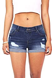 """Wax Womens Juniors Body Enhancing Denim Shorts"""