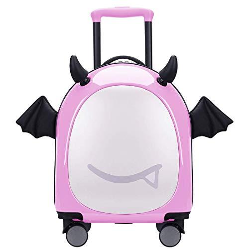 16 inch Kids Hardside Luggage, 3D cute Little Demon Design With Emoji sticker By Sindermroe (Pink)