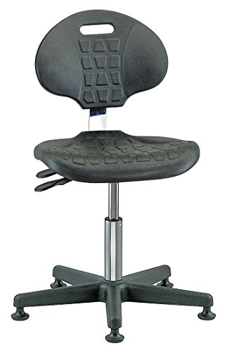 Bevco 7001CR Series 7000 Polyurethane Black Class 10 Ergonomic Industrial Low Height Seating Chair with Plastic Base without Casters, Deluxe