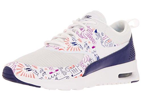Nike WMNS Air Max Thea Print, Chaussures de Sport Femme, Blanc-poussière Violet foncé, 36 1/2 EU