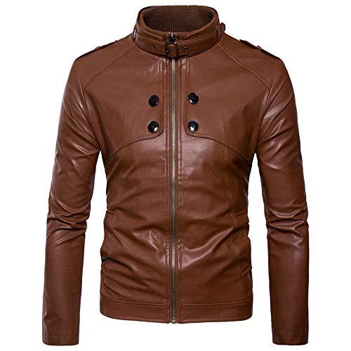 GreatestPAK Herren Lederjacke Lässig Langarm Einfarbig Reißverschluss Herbst Winter Mantel Bluse,Braun,CN:XL
