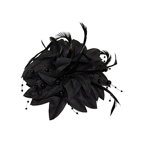 Black Layered Flower Bead and Feather Beak Clip Brooch Fascinator by Pritties Accessories