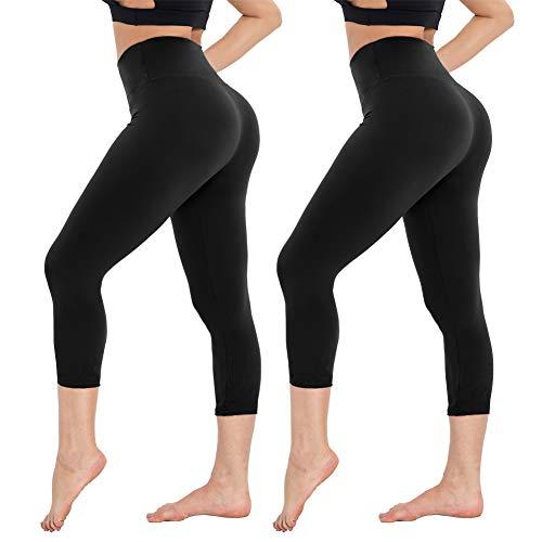 Damen Leggings Sporthose mit Hohem Bund - Capri Yogahose Laufhose Fitnesshose Leggins Yoga Sport Leggings Tights für Damen zum Laufen, Radfahren, Fitness