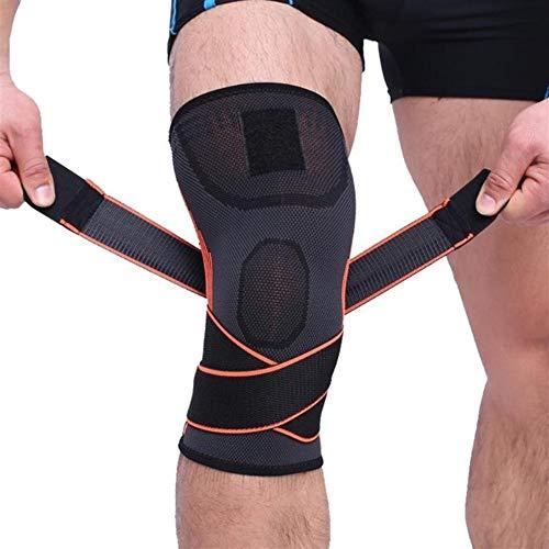 Kniebandage Fitness Laufen Radfahren Bandage Kniestütze Hosenträger Elastische Beinschutzpolster Knieschützer Hosenträger Kompressionshülse (1 Stück) Knee Active Plus (Color : Orange, Size : L)