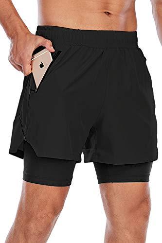 Yidarton Shorts Herren Sport 2 in 1 Kurze Hosen Sommer Schnelltrocknende Laufshorts Gym Trainingsshorts Sporthose (Schwarz + Schwarz, L)