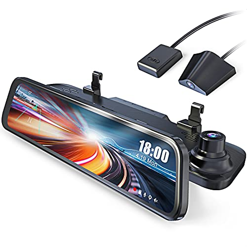 JOMISE G840 2.5K Mirror Dash Cam for Cars, 12' IPS Full Touch Screen, Waterproof Backup Rear View Mirror Camera, Sony Sensor, Super Night Vision, GPS Tracking, Loop Recording, Parking Assistance