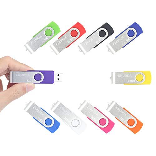 Lot de 10 Clé USB 32 Go ENUODA USB 2.0 Flash Drive Stockage Rotation Disque Mémoire Stick (10 Couleur Mixte)