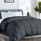 COHOME Queen 2100 Series Soft Warm Comforter Down Alternative Quilted Duvet Insert with Corner Tabs All-Season - Hotel Comforter - Reversible - Machine Washable - Dark Grey - 88X88