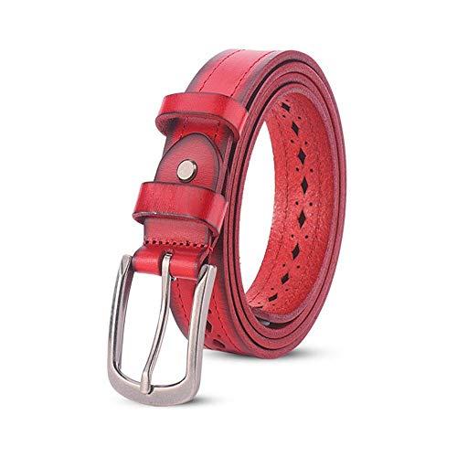 YEZIB Cablaggio da Uomo, Cintura da Donna con Cinturino in Pelle con Fibbia ad ago (Color : Red, Size : 115cm)