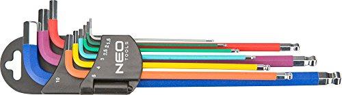 Neo, Set di chiavi a brugola esagonali 1.5-10 mm, 9 pz, 09-512