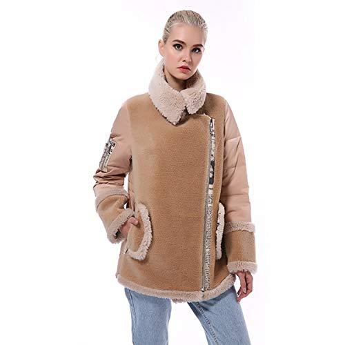 SHOUBANG Mantel Pelzmantel Damen Winter Natur Wollmischung Mix Und Synthetische Schaffell Jacke Warme Jacke