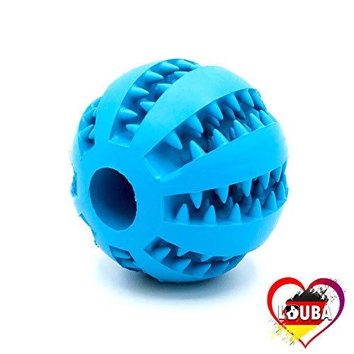 LouBa ® Hundeball mit Zahnpflege-Funktion | Hundespielzeug mit Noppen für Leckerlis | Robuster Hundespielball für Große & Kleine Hunde - Hunde Ball Ø 7cm Dentalball Kauspielzeug - Blau