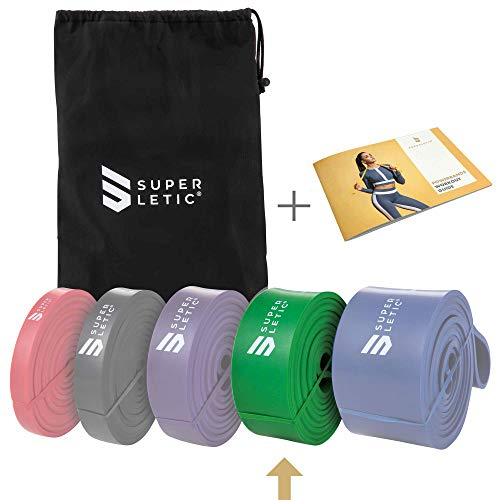 SUPERLETIC Powerbands, Widerstands-Fitness-Bänder, Pullup und Resistance-Training, 5 Stärken, rot, schwarz, lila, grün und blau, mit Workout-Guide (4 - X-Heavy (Grün))