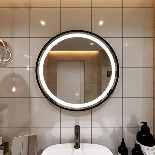 GXQ La luz Blanca de 24 Pulgadas LED Ronda iluminadas Espejos de baño, Negro Marco montado en la Pared botón de Memoria Regulable CRI> 90 Impermeable 5MM Espejos de baño del Dormitorio