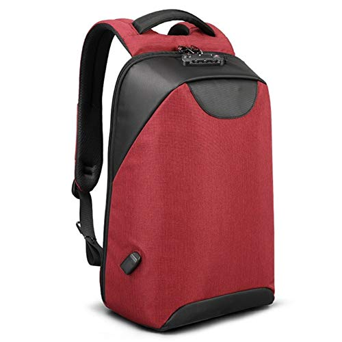 Yi-xir fashion design Anti theft fashion Men Backpacks 15.6inch USB Charging Laptop Male 18L College School Backpack for Boys Lightweight and durable (Color : Red, Size : A)