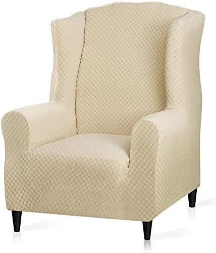 TYXL Stretch Ohrensesselbezug, Jacquard Ohrensesselbezug Sessel Schonbezug Möbelschutz, 1 Sitzer Couchbezug mit elastischem Boden (Hellbeige)