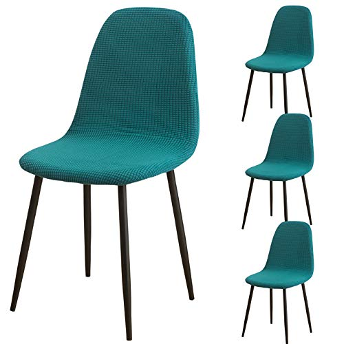 Scandinavian Dining Chairs Covers 4 pieces, Modern Stretch Removable Jacquard Shell Chair Slipcover for Dining Room, Kitchen, Bedroom, Living Room, Lounge Armless Chairs (Teal)