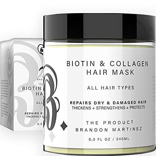 Maschera per capelli naturale con collagene e biotina per la crescita dei capelli - Olio di avocado e olio di vitamina E Per capelli secchi e danneggiati Ingredienti naturali B. Il prodotto 8 oz