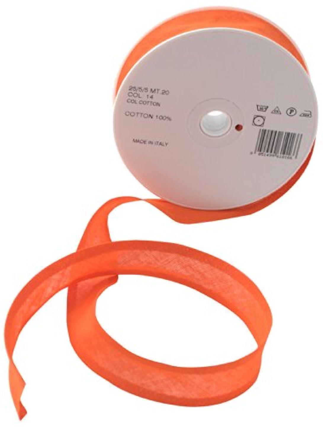 Inastri 25/5/5 mm Cotton Bias Binding, Orange