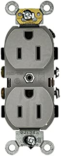 Leviton 5242-GY 15 Amp, 125 Volt, Industrial Heavy Duty Grade, Duplex Receptacle, Straight Blade, Self Grounding, Gray
