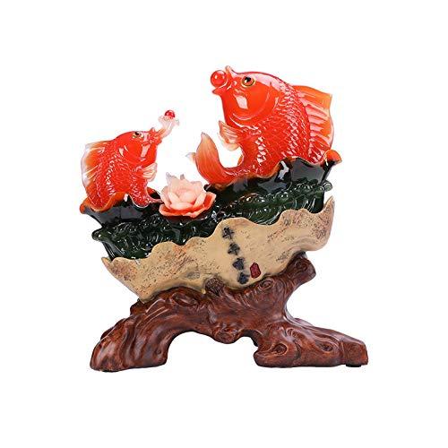 Arte decorativo / figura de adorno Fengshui riqueza arowana peces afortunado peces estatua decoración vibrante colorido pescado carpa estatuas estatuas afortunado casa decoración Productos de decoraci