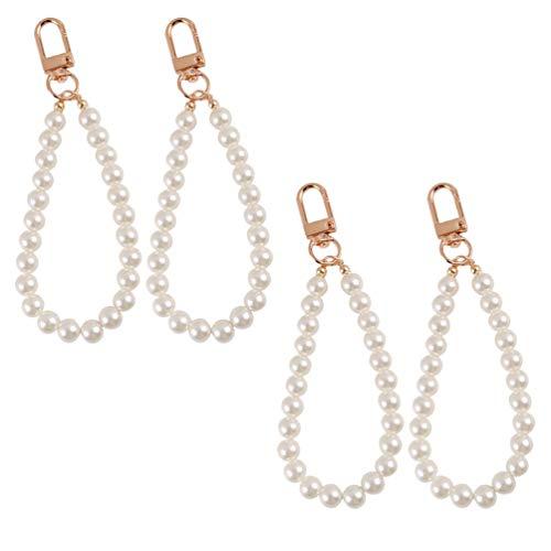 Amosfun Perla llavero de perlas, llavero con abalorios, bolso colgante, regalo para niñas, niños, mujeres, fiesta de cumpleaños, 4 unidades
