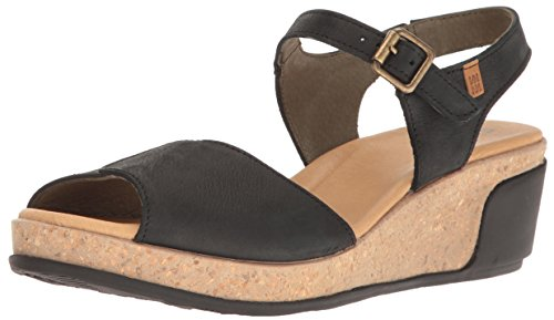 El Naturalista S.A N5000 Pleasant Leaves - sandali open toe Donna, Nero (Black), 36 EU