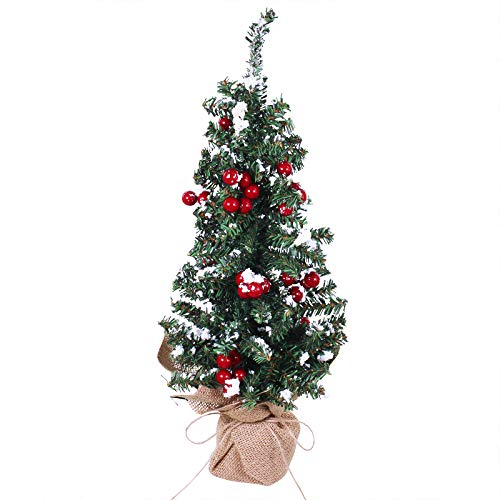 Artificial Mini Snowy Pine Tree on Burlap Base Snow Flocked Small Tabletop Christmas Tree with Red Berries 18.9' Tall for Vintage Rustic Christmas Winter Holiday Table Decoration Centerpiece Display