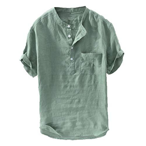 Binggong Leinenhemd Herren Kurzarm Männer Freizeithemd Henley Shirt Regular Fit Einfarbig Leichte Atmungsaktives Kurzarmshirt Sommershirt Übergröße Oberteil S-6XL