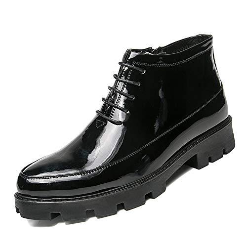 GY-HCJINxdj Los Hombres de Las Botas del Tobillo de Encaje hasta achaparrado del talón de la Patente PU Cuero Cremallera Boca Zapatos (Color : Black, Size : 43 EU)