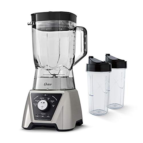 Oster Texture Select Pro Blender with 6-Program Settings, 1200-Watt Base, 64 Capacity Pitcher and (2) 24-oz Blend-N-Go Cups for Smoothies, Brushed Nickel, BLSTTSCB2000