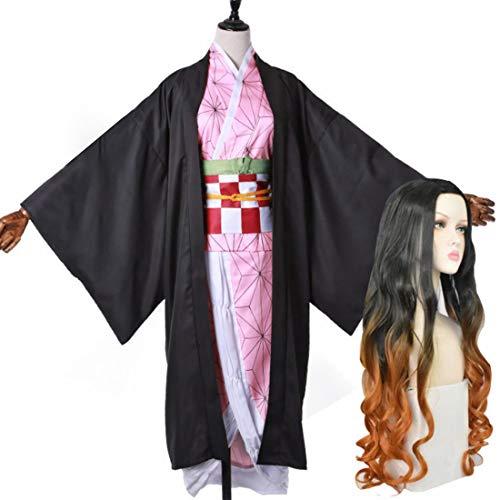 Seciie Anime Demon Slayer Kimetsu no Yaiba Nezuko Kamado Cosplay Kostüm mit Perücke, Nezuko Kamado Kimono Set Rollenspiel Kostüm Halloween Kostüme - XXL