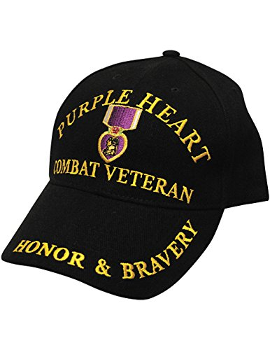 Purple Heart Combat Veteran Embroidered Cap