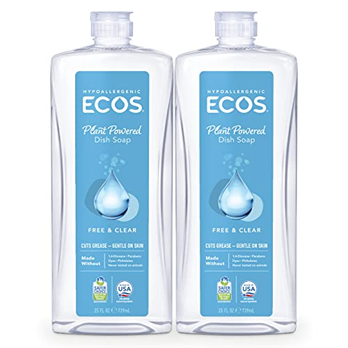 ECOS Hypoallergenic Dish Soap, Free & Clear, 25 oz by Earth Friendly Products (Pack of 2)