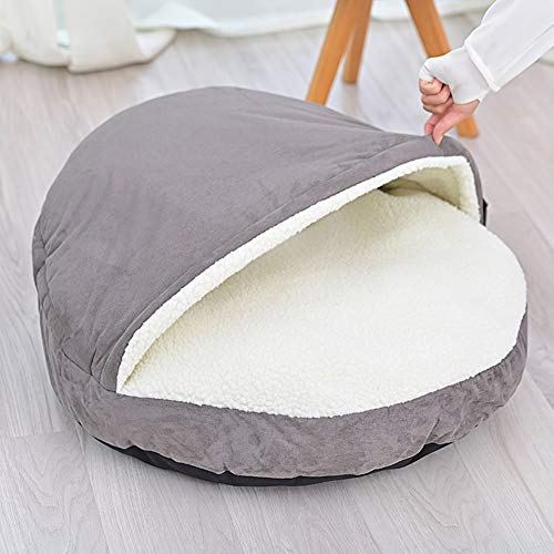 YINN Deluxe Dog Cave,Large Pet Nest Dog Bed Warm Cashmere Cuddly Dog Cushion Sofa Washable Detachable Kennel for Big Dog Cat Puppy Rabbit-S:64x64x10cm-Grey