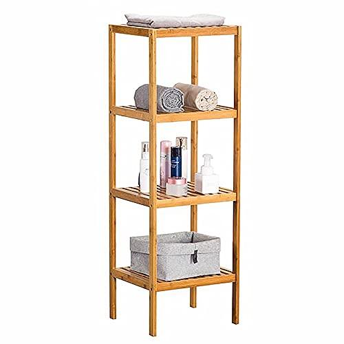 Lsooyys Estantería de bambú de 4 capas de almacenamiento, estantería de pie, soporte de flores para plantas, torre de almacenamiento multifuncional, estante de madera