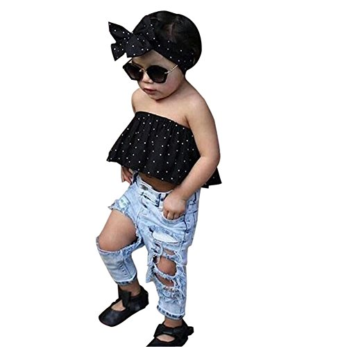 Best Gift 0-3 Years Baby Girls Off Shoulder Polka Dot Top+Destroyed Ripped Jeans+Headband Clothes Outfits Set (12-18 Months, A)