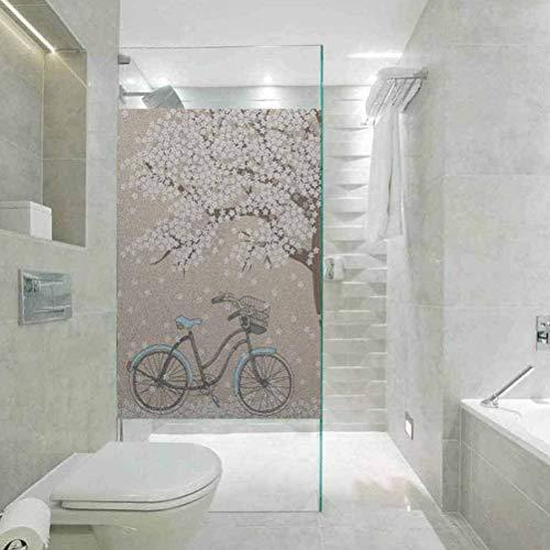 Papel estático para ventana, árbol de flores de bicicleta,