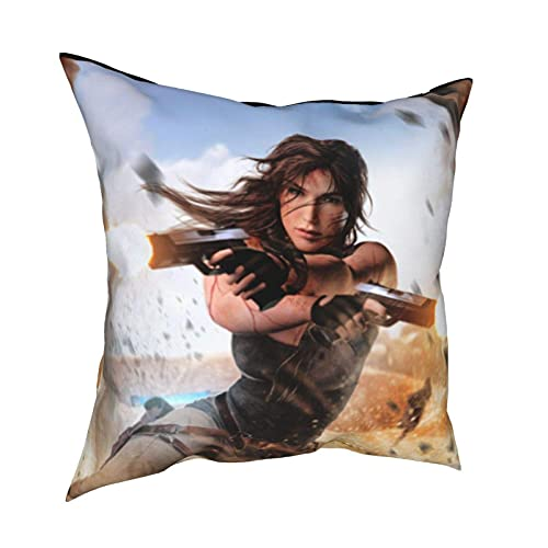 IUBBKI Funda de Almohada Shadow Tomb Raider Funda de Almohada Sofá Sala de Estar Mesita de Noche Respaldo Siesta Oficina Cojín Trasero Lumbar 16 'x 16'