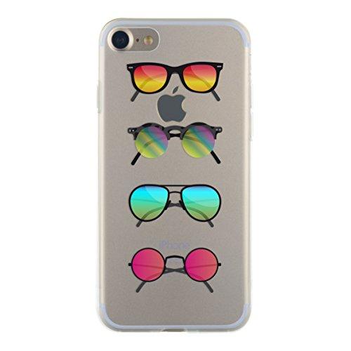 BBC beschermhoes voor iPhone 7/8, motief zonnebril, semi-stijl, transparant