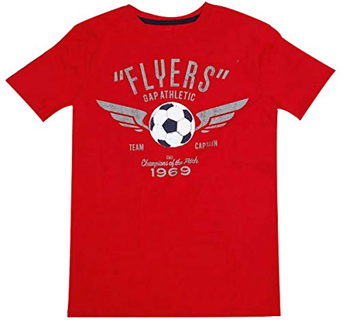 """GAP Kids Printed"""" FLYERS GAP ATHLETIC 1969"""" Logo Graphic Tee Round Neck Short Sleeves T-shirt, Durable & Machine Washable, Size XX-Large (13Y) Years, Cotton Material - Red"""