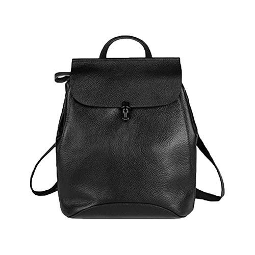 Leather Backpack Star with Same Heel Casual Fashion Oil Wax Leather Backpack Lady Campus Retro Bag Backpack Handbag Black Size: One Size