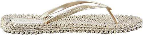 ILSE JACOBSEN HORNBÆK | Slippers met Glitter voor Dames | Comfortabele Sandaal voor Strand en Zomer | CHEERFUL01 | PLATIN | 38 EU