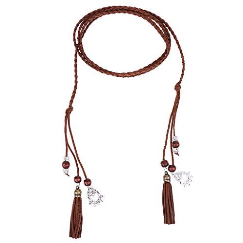 Sharplace 165cm Länge Schmale Gürtel Taillengürtel Mode Damen Kleidgürtel Hippie Quaste - Kaffee, 165 cm