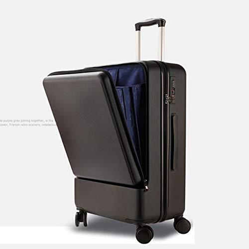 Mdsfe 20 Pulgadas 24 Pulgadas Bolsa de Equipaje de Bolsillo para Laptop Maleta de Cabina con Carrito de Negocios de ABS rígido para PC - Carrito Negro, 24'