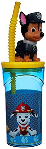 P:os 29442 - Trinkbecher mit Strohhalm und 3D Figur, im beliebten Paw Patrol Design, Fassungsvermögen ca. 360 ml, aus Kunststoff bpa- und phthalatfrei, für Jungen und Mädchen