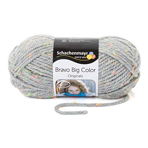 Schachenmayr Handstrickgarne Bravo Big Color, 200g Light Gray Tweed